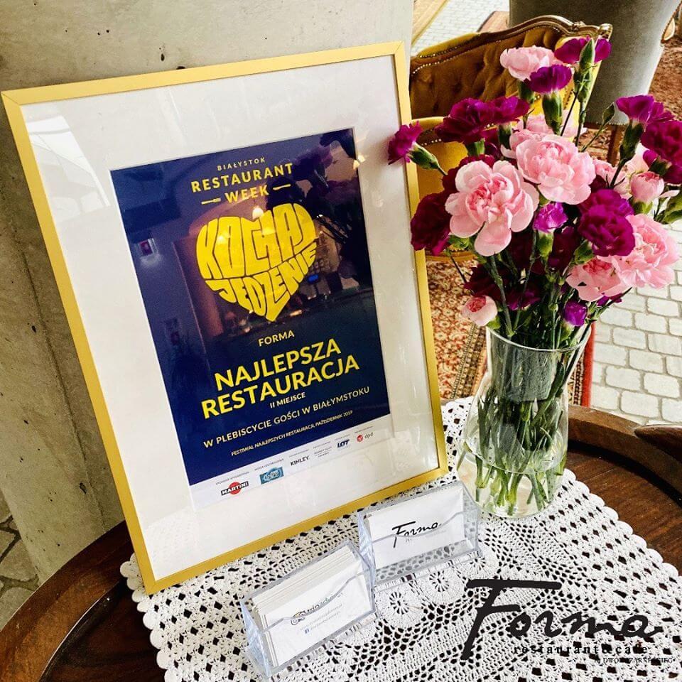 Dyplom za II miejsce - Najlepsza REstauracja na Restaurant Week